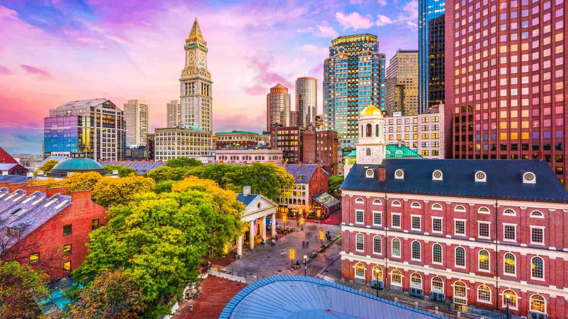 Boston historic skyline at dusk.