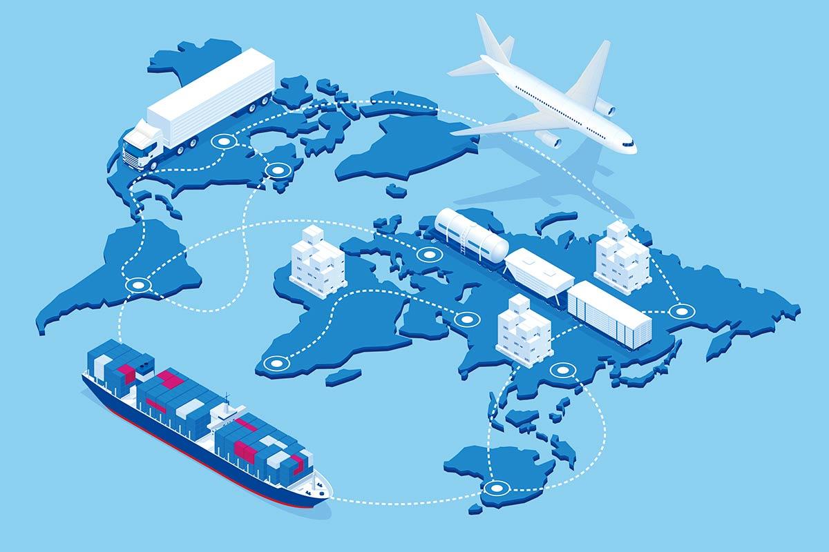 map showing global logistics