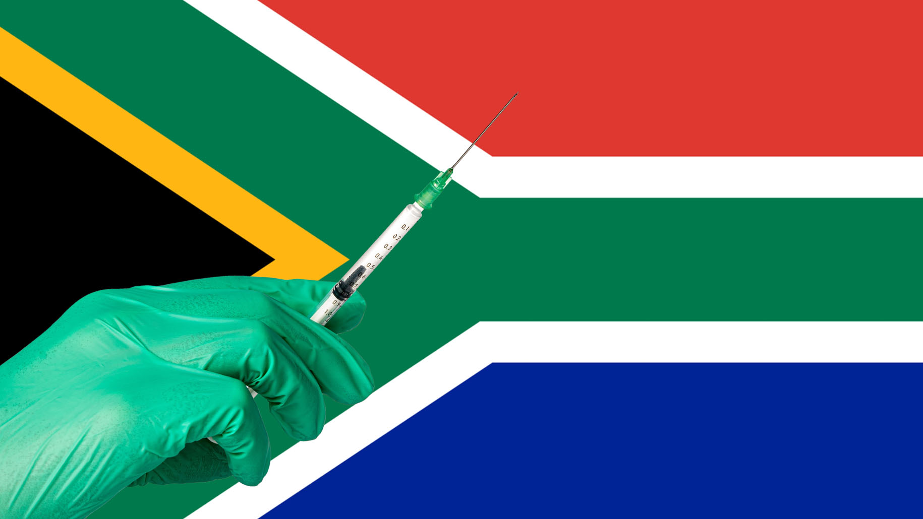 Hand with a green glove that holds a jab over South African flag.